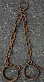 RARE Authentic 19thC Iron Louisiana SLAVE SHIP SHACKLES