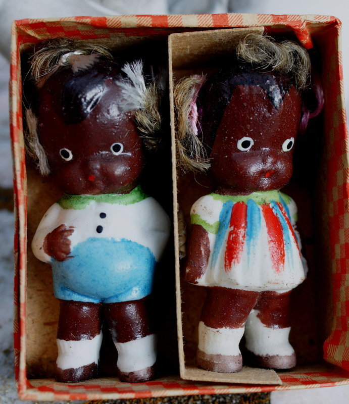 Boxed Pair 1930s Ceramic Black Boy + Girl Japan Dolls