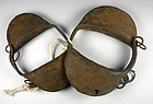 RARE 19thC Iron HandForged Childs SLAVE RATTLE SHACKLES