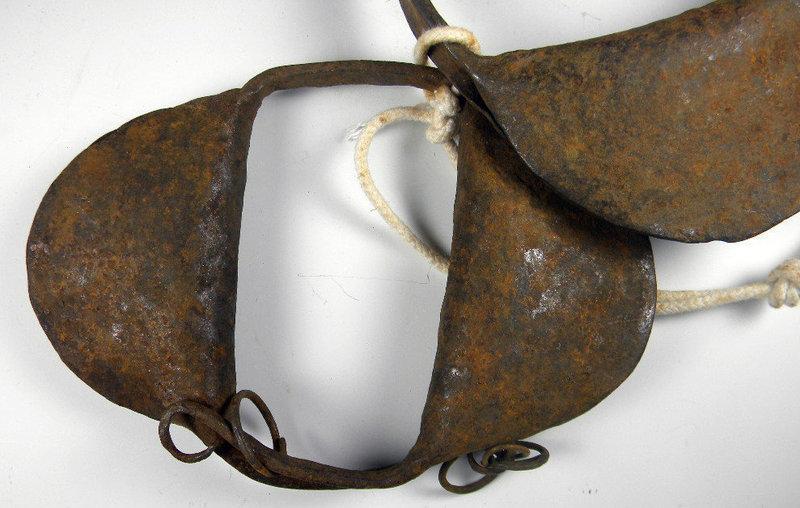 RARE 19thC Iron HandForged Childs SLAVE RATTLE SHACKLES