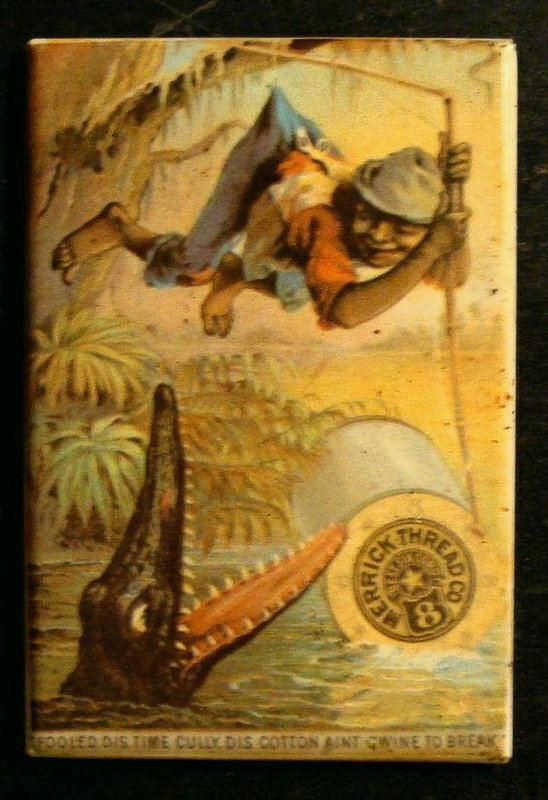 1930s Vintage Advertising Mirror Black Boy + Alligator
