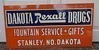 Fab UNUSED 1955 REXALL North Dakota Pharmacy Drug Store Sign