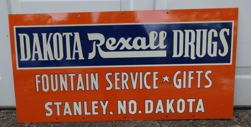 Fab 1955 REXALL North Dakota Pharmacy Drug Store Sign Unused