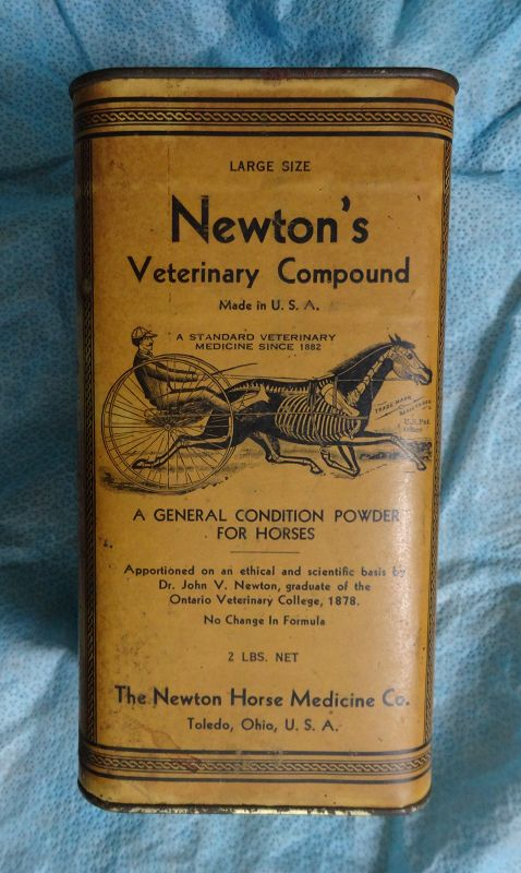 1930s Newtons Veterinary Horse Medicine Canister Stunning Graphics