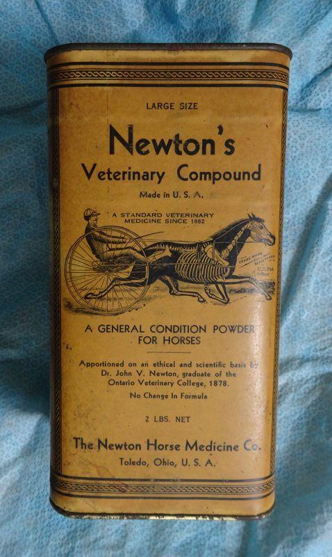 Newtons Veterinary Horse Medicine Tin w/great graphics