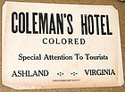 C1930 Black Americana Segregation COLORED HOTEL Sign
