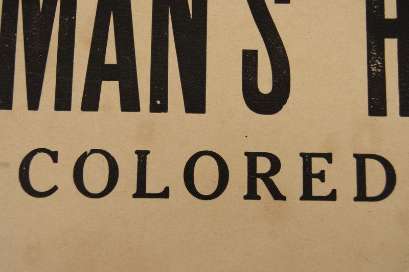C1930 Black Americana Segregation COLORED HOTEL Sign