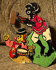 C1940s Mechanical Tin Toy Black Woman Hitting Monkey
