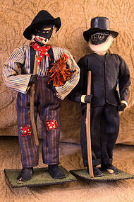 1930 Alabama WPA Project Folk Art Black Cloth Dolls