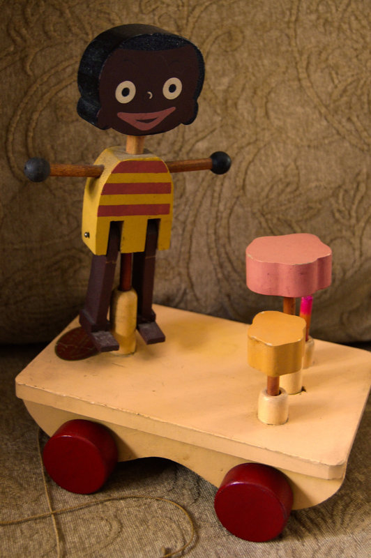"1930 Wood Pull Toy Puppetoons Black Boy ""Little Jasper"""