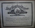 RARE 1899 California School Teacher Certificate Diploma