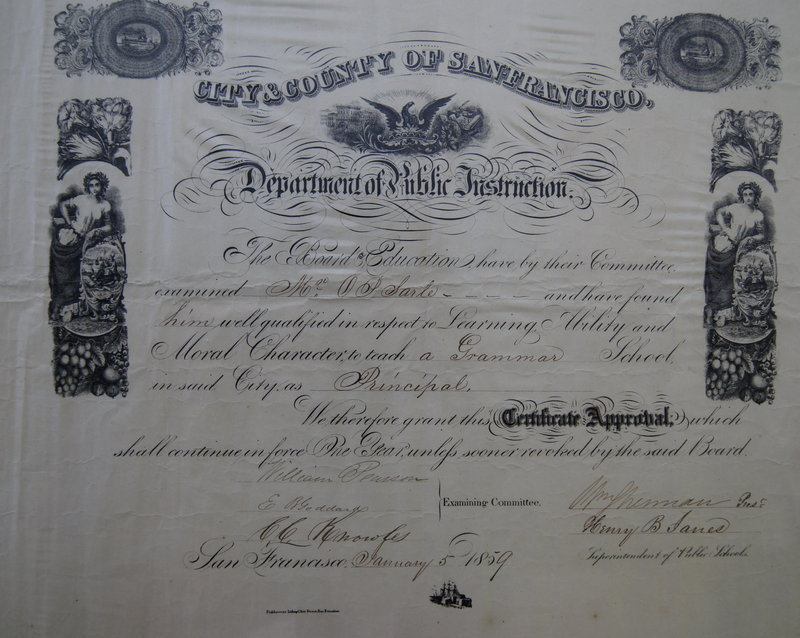 1859 San Francisco CA Elementary School Principal Teacher Certificate