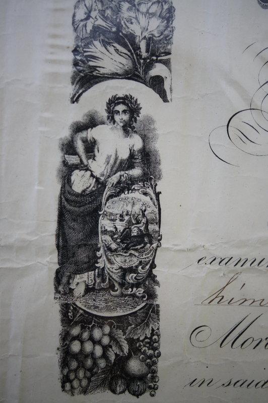 Very RARE 1859 San Francisco Teacher Principal Diploma