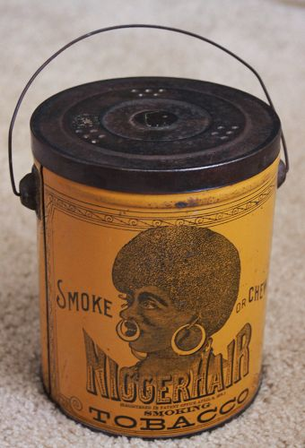 Excellent 1941 Black Memorabilia Nigger Hair Tobacco Tin
