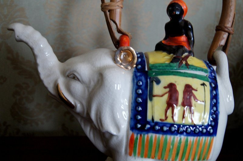 2 Black Americana Native Good Luck Elephant Teapots C1930s Japan