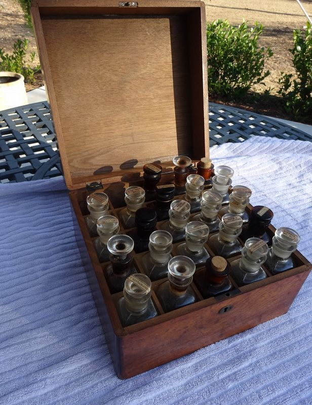 19thC Traveling Doctors Apothecary Medicine Chest w/ Opium Bottle