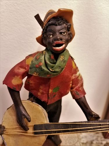 Fab CA1920 RARE New Orleans Vargas Wax Historical Figure BANJO PLAYER
