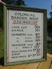 1940s Hand Made Barber Shop Advertising Sign with Prices