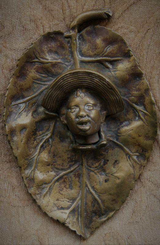 C1920 Johnny Griffin Like Black Memorabilia Brass Tobacco Leaf AshTray
