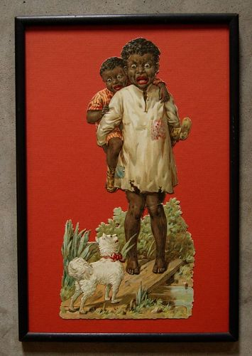 C1920 Stereotypical DieCut Two Black Children Afraid of Little Dog
