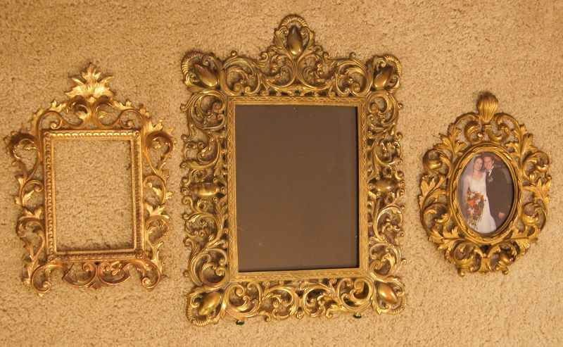 2Fab Vintage Victorian Very Ornate Brass Photo Picture Frames w Stands