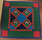C1970s Pennsylvania Amish Wool Hand Sewn Crib Quilt by Anna Beiler