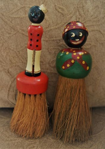 1930 Rhody Brush Co Black RailRoad Porter and Mammy Clothes Brushes