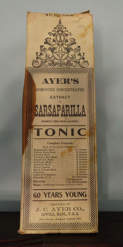 C1915  AYERS SARSAPARILLA Patent Medicine Bottle w/ Box Contents