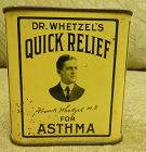 1920s Asthma Tin Dr Whetzels Pharmacy Drug Store Remedy Great Graphics