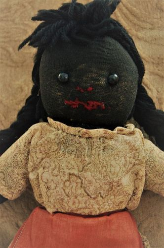 C1920 Vintage Black Memorabilia Folk Art Young Girl Rag Stocking Doll