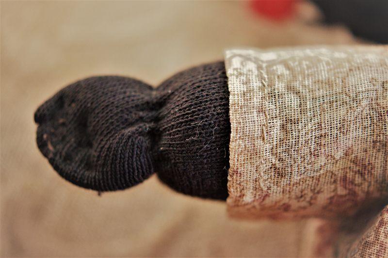 C1920 Vintage Black Memorabilia Folk Art Young Girl Stocking Rag Doll