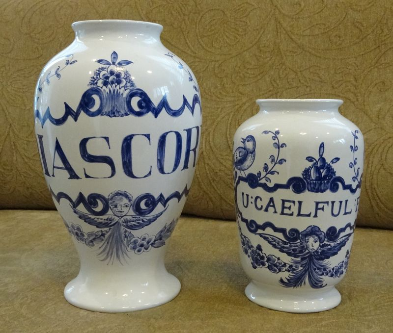 Pair of Lovely C1950-60s Apothecary Pharmacy Display Jars