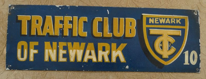 1940s Vintage Hand Painted Sign Traffic Club of Newark NJ Automobile