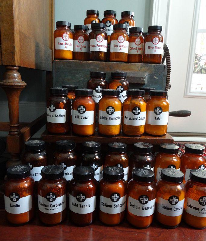 Fabulous Merck Pharmacy Stock Bottle Collection w/ Poison Bottles