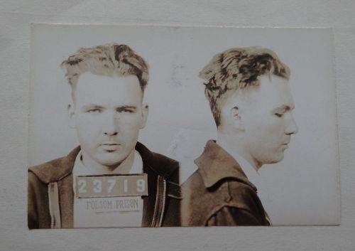 Rare 1941 California Folsom State Prison Mug Shot Fingerprint Document