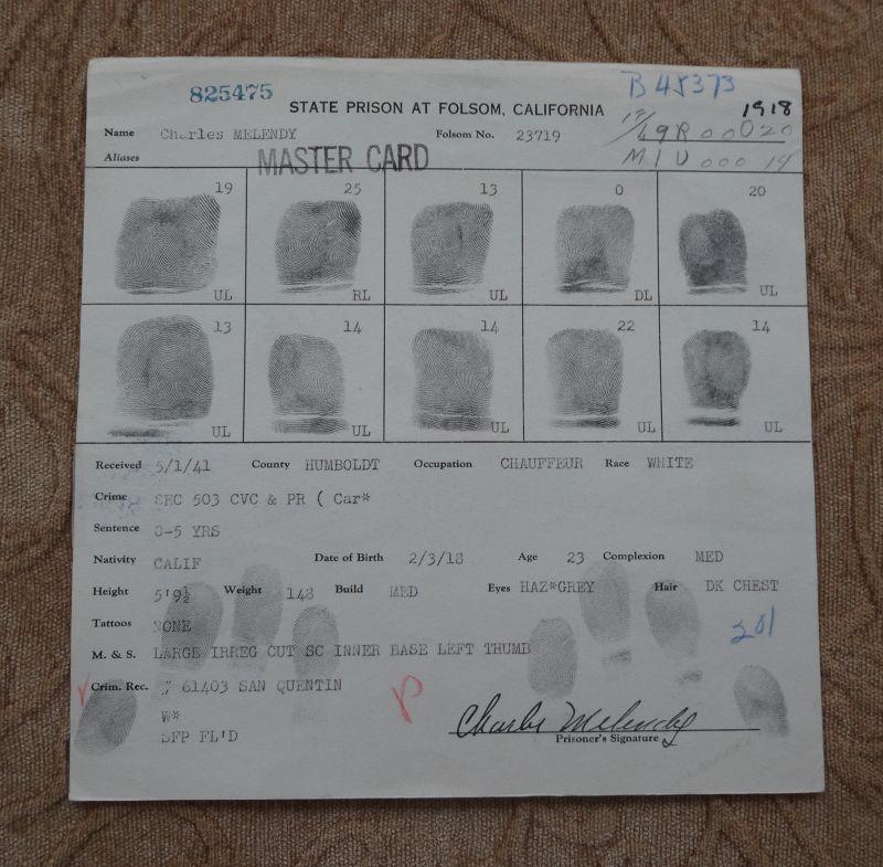 Rare 1941 California Folsom State Prison Mug Shot Fingerprint Document