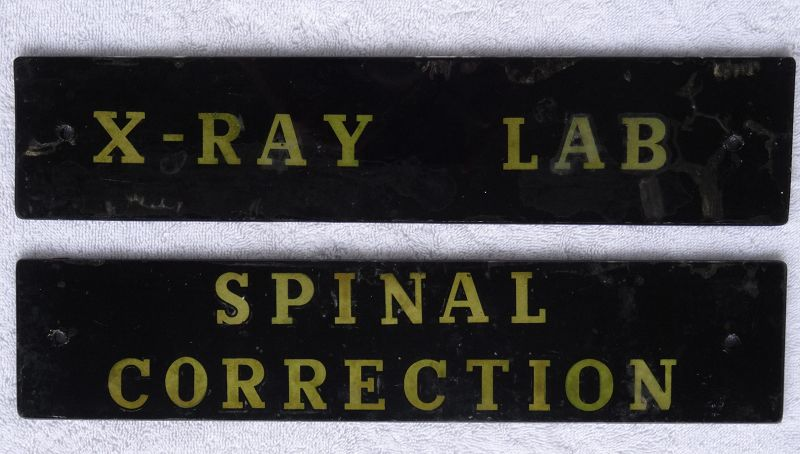 Scarce 1940s Painted Glass Hospital XRAY LAB + SPINAL CORRECTION Signs