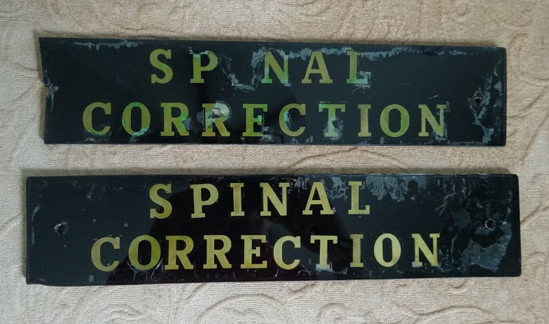 2 Scarce 1940s Painted Glass Hospital Medical SPINAL CORRECTION Signs