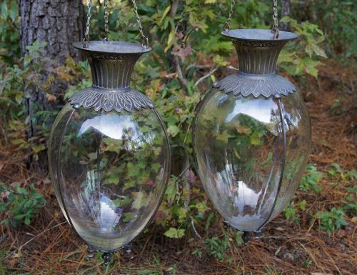 Lovely Pair of 1890s All Original Hanging Apothecary Show Globes