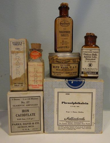 6 Pharmacy Patent Medicine Bottles Leukemia Cure Parke Davis Mulford