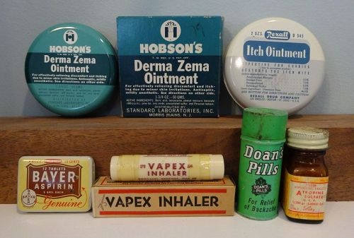6 Pharmacy Medicines & Tins 1940-50 Era Rexall Doans Bayers Eli Lilly