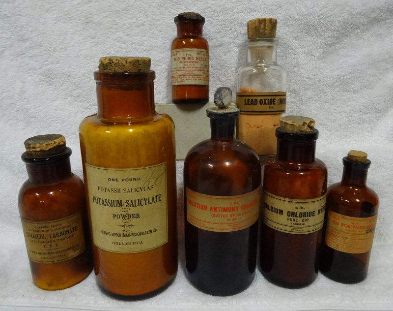 8 Vintage C1900-1920 Merck + Powers Weightman Pharmacy Chemist Bottles