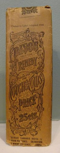 1910 PISO'S CANNABIS Cough Cold Remedy Patent Medicine Bottle Unopened