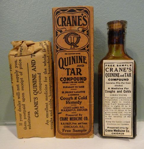 Vintage Cranes Cough + Cold Lung  Remedy w/ Quinine  - Patent Medicine