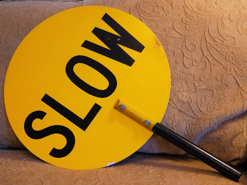 1964 School Crossing Guard Hand Held Double Sided STOP and SLOW Sign
