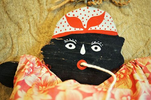 Sweet C1930s Hand Painted Folk Art Black Americana Mammy String Holder