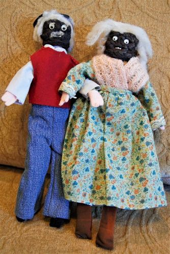 Sweet Black Americana Hand Made C1930s Apple Head Mammy n Pappy Dolls