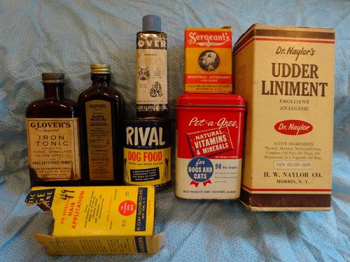 7 Fab Dog Cat Mid-Century Vintage Veterinary Remedies Vitamins Tonic