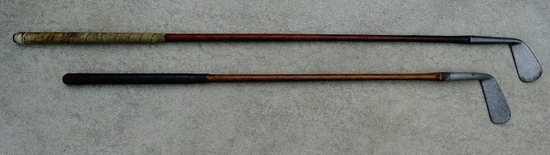 2 SCARCE Antique Smooth Face Wood Shaft Golf Clubs St Andrews