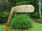 Unusual Antique Vintage Hickory Wood Shaft DUAL FACE BRASS Golf Club